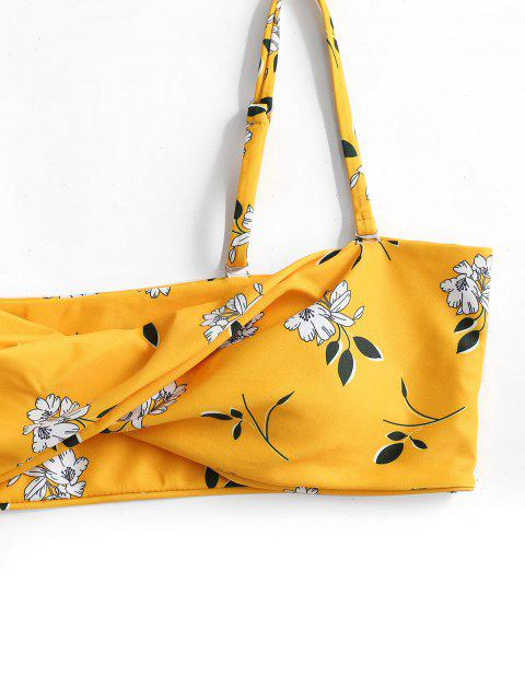 women's ZAFUL Floral Tie Twist Bandeau Bikini Swimwear - BRIGHT YELLOW L Mobile