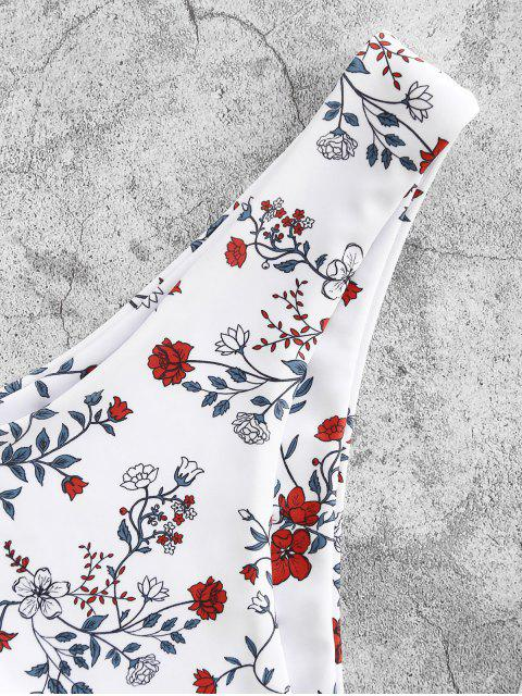 ZAFUL Flor de Perna Alta com Estampa de Flor - Branco M Mobile