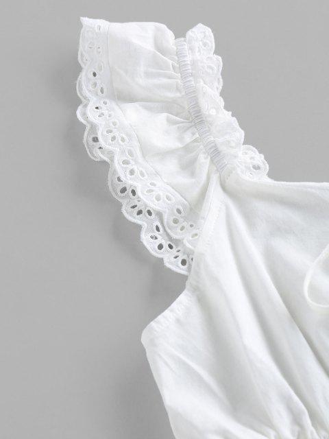 sale ZAFUL Eyelet Smocked Bowknot Ruffle Crop Blouse - WHITE XL Mobile