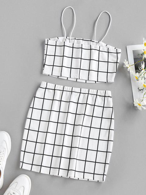 latest ZAFUL Grid Slit Cami Mini Skirt Set - WHITE M Mobile