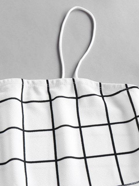 shop ZAFUL Grid Slit Cami Mini Skirt Set - WHITE L Mobile