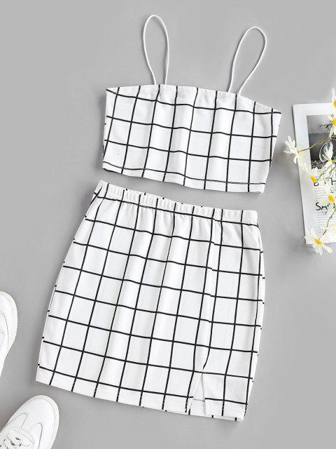 outfits ZAFUL Grid Slit Cami Mini Skirt Set - WHITE XL Mobile
