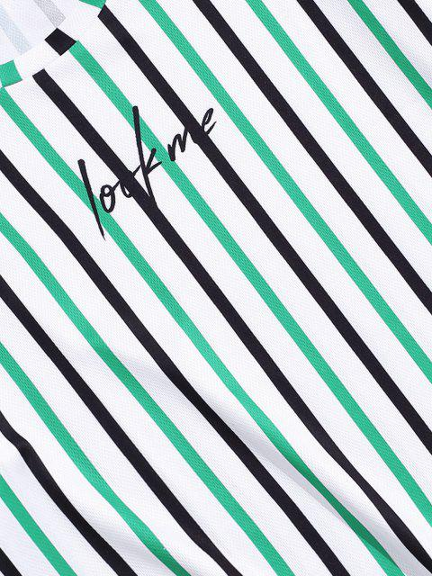 outfits Striped Letter Printed Short Sleeves T-shirt - CLOVER GREEN 3XL Mobile