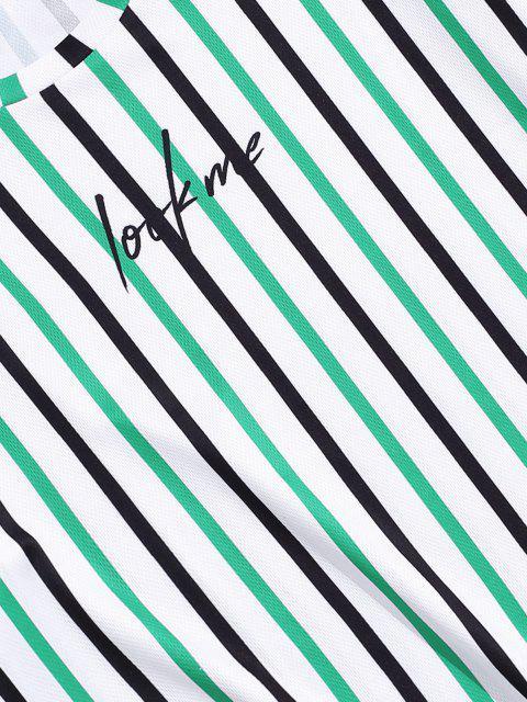 Camiseta Rayada y Estampado Letras - Verde de Trébol  3XL Mobile