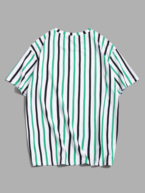 Striped Letter Printed Short Sleeves T-shirt - البرسيم الأخضر 3XL Mobile