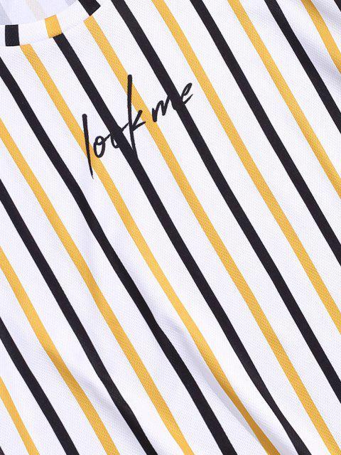 Gestreiftes T-Shirt mit Kurzen Ärmeln und Buchstaben - Biene Gelb M Mobile