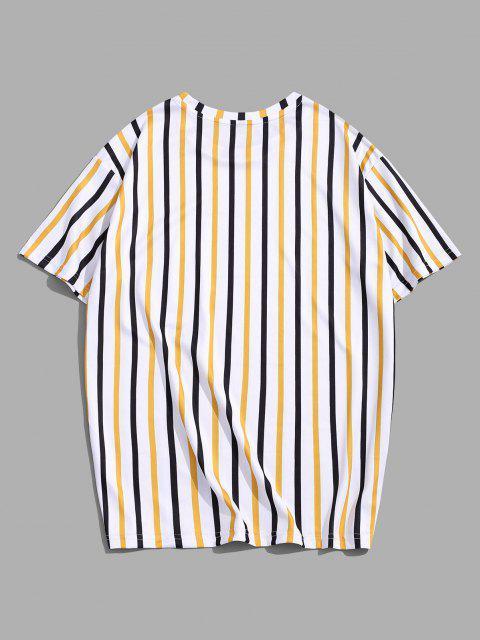 Striped Letter Printed Short Sleeves T-shirt - نحلة صفراء M Mobile