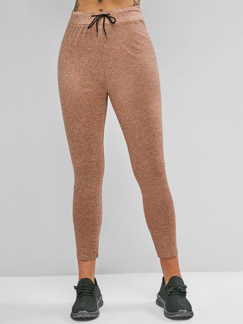fashion Drawstring Heather Skinny Leggings - CINNAMON S Mobile
