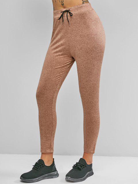 affordable Drawstring Heather Skinny Leggings - CINNAMON L Mobile
