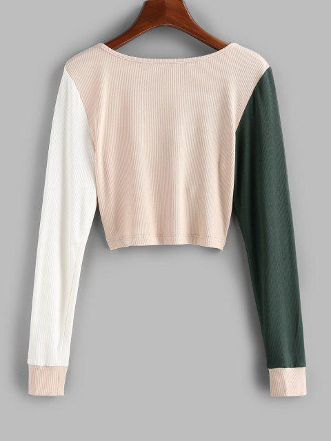 shop ZAFUL Ribbed Colorblock Twisted Crop T-shirt - MULTI-C XL Mobile