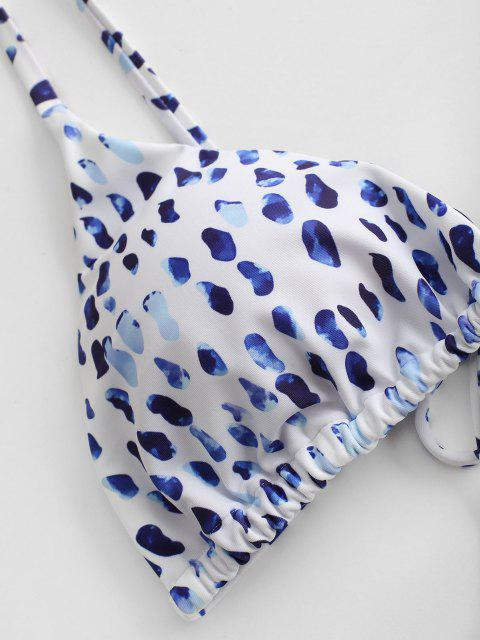 fashion ZAFUL Animal Print Tie String Bikini Set - BLUEBERRY BLUE L Mobile