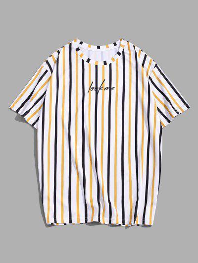 Camiseta Rayada Y Estampado Letras - Amarilla De Abeja  M