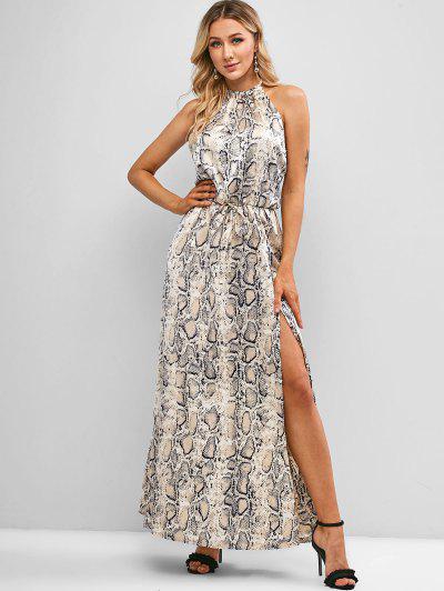 Tie Back Snake Print High Slit Maxi Dress - Multi-a S