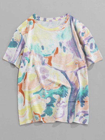 ZAFUL Tie Dye Print Short Sleeve T Shirt - Purple Mimosa 2xl