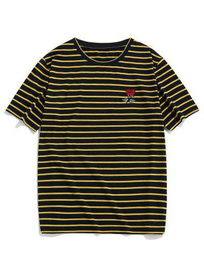 ZAFUL Camiseta Rayada Bordado Rosa - Amarillo Brillante L