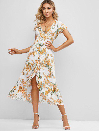 Floral Ruffles Overlap Midi Dress - White Xl
