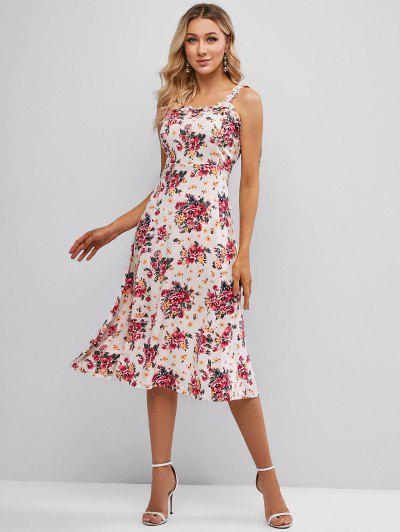 Floral Lettuce Trim Midi Dress - White M