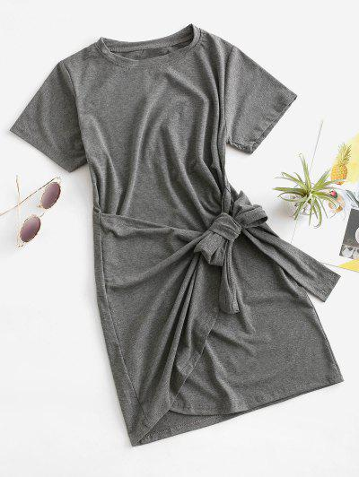 Overlap Tie Short Sleeve Tee Dress - Battleship Gray L