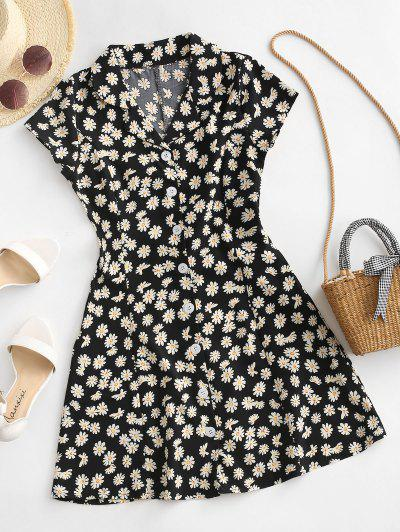 Daisy Floral Button Up Casual Dress - Black M