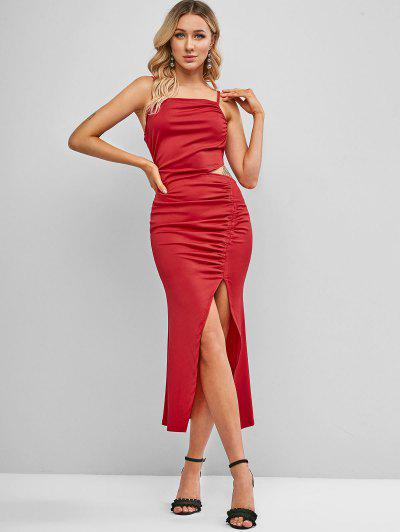 Cami Gathered Cut Out Asymmetrical Dress - Lava Red S