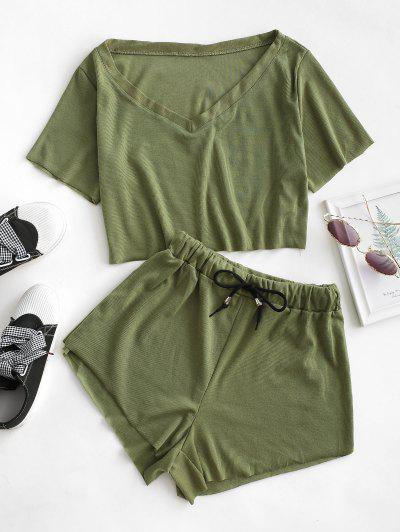 Raw Cut Ribbed V Neck Drawstring Two Piece Set - Fern Green S