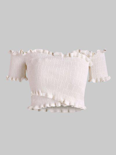 Off Shoulder Frilled Knitted Crop Top - Apricot