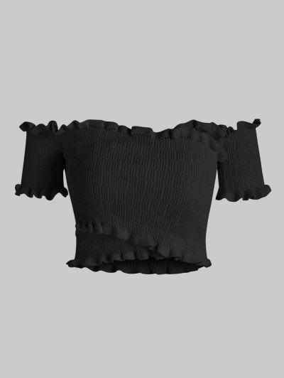 Off Shoulder Frilled Knitted Crop Top - Black