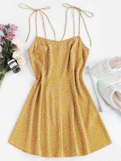 ZAFUL Tie Shoulder Ditsy Print Mini Dress - Yellow S