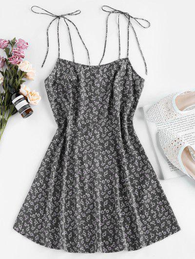 ZAFUL Tie Shoulder Ditsy Print Mini Dress - Black S