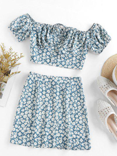 ZAFUL Flower Print Bowknot Slit Keyhole Mini Skirt Set - Blue Gray S