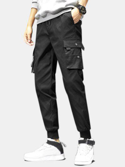 Drawstring Flap Pockets Cargo Jogger Pants - Black M