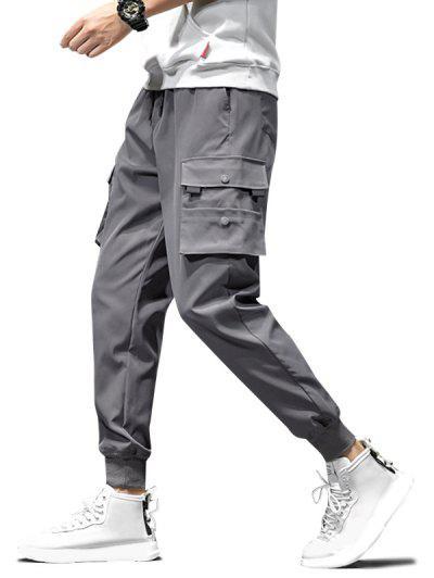 Drawstring Flap Pockets Cargo Jogger Pants - Gray L