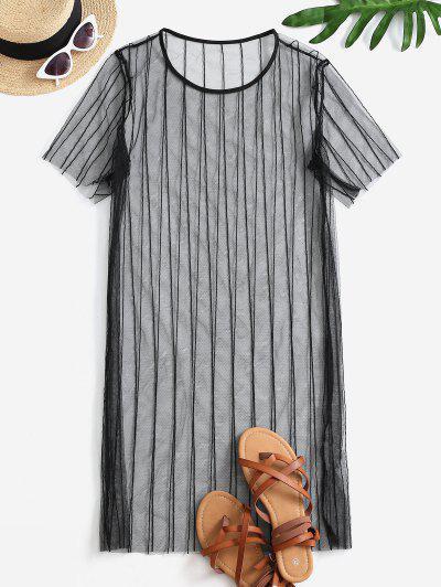 See Thru Mesh Cover-up Dress - Black Xl