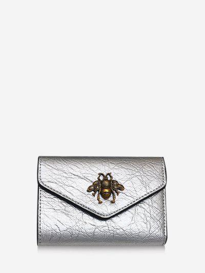 Honey Bee Crinkle Leather Mini Envelope Clutch Wallet - Silver