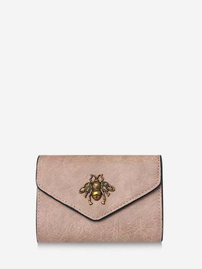 Honey Bee Crinkle Leather Mini Envelope Clutch Wallet - Light Pink