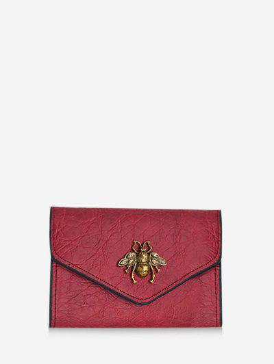 Honey Bee Crinkle Leather Mini Envelope Clutch Wallet - Red
