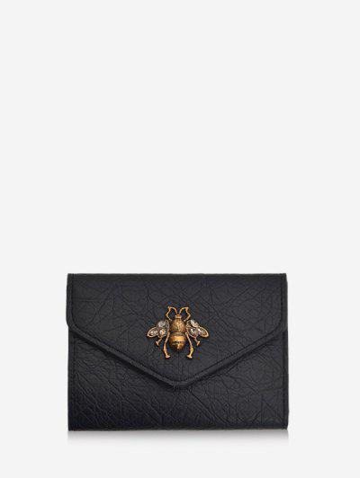 Honey Bee Crinkle Leather Mini Envelope Clutch Wallet - Black