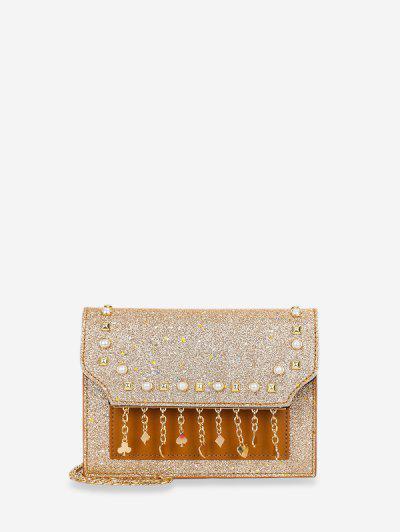 Polka Fringe Sparkle Sequins Chain Crossbody Bag - Gold