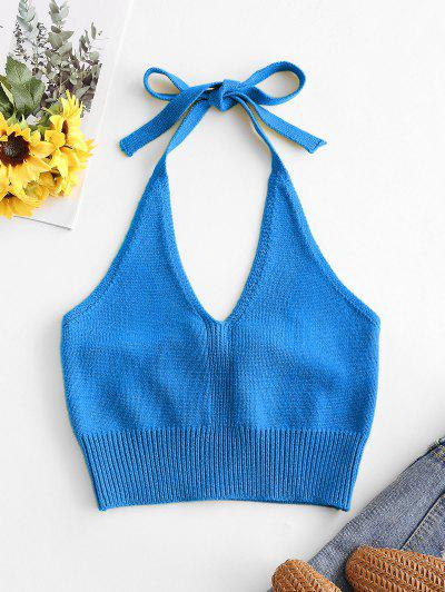 Solid Knitted Halter Crop Top - Blue S