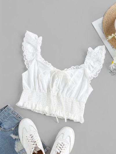 ZAFUL Eyelet Smocked Bowknot Ruffle Crop Blouse - White L