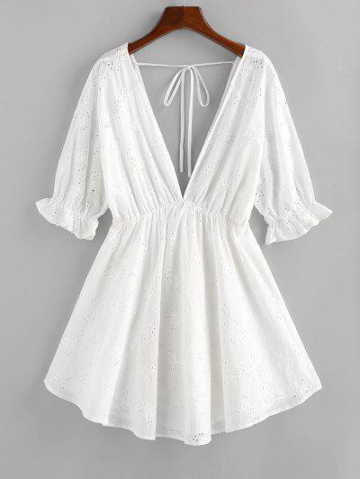 ZAFUL Eyelet Plunging Poet Sleeve Dress - White L