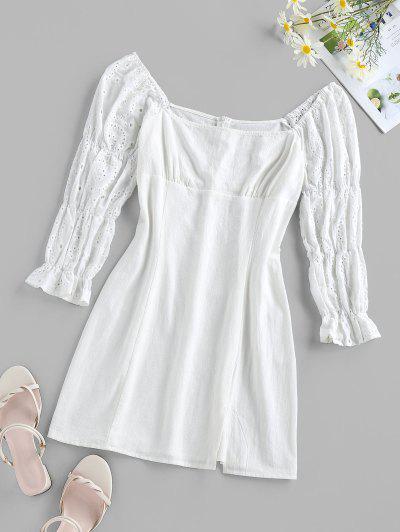 ZAFUL Eyelet Poet Sleeve Slit Mini Dress - White M