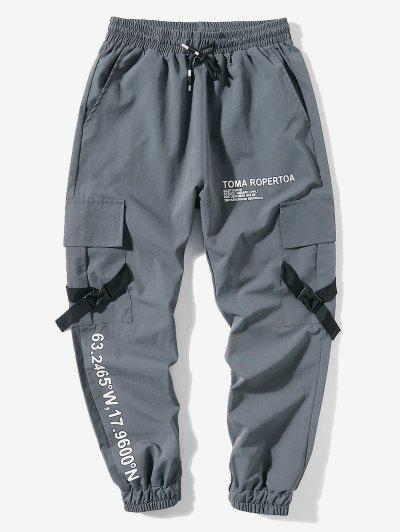 Letter Print Flap Pockets Cargo Jogger Pants - Gray Xl