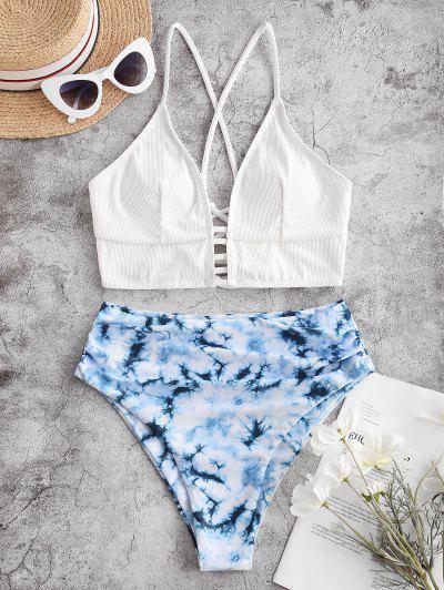 ZAFUL Tie Dye Ribbed Lace Up High Cut Tankini Swimsuit - Blue L