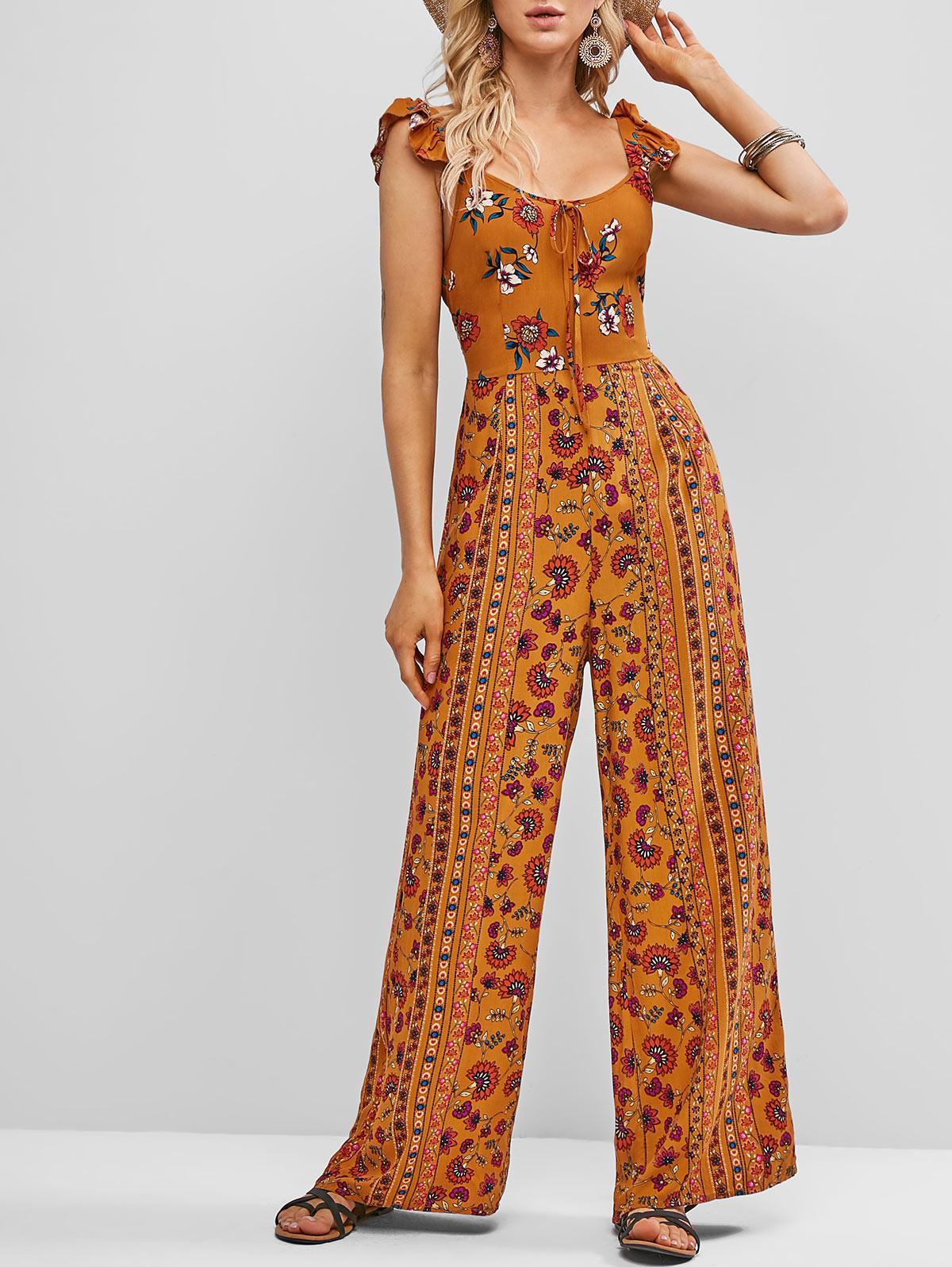 ZAFUL Tie Collar Ruffled Straps Floral Wide Leg Jumpsuit