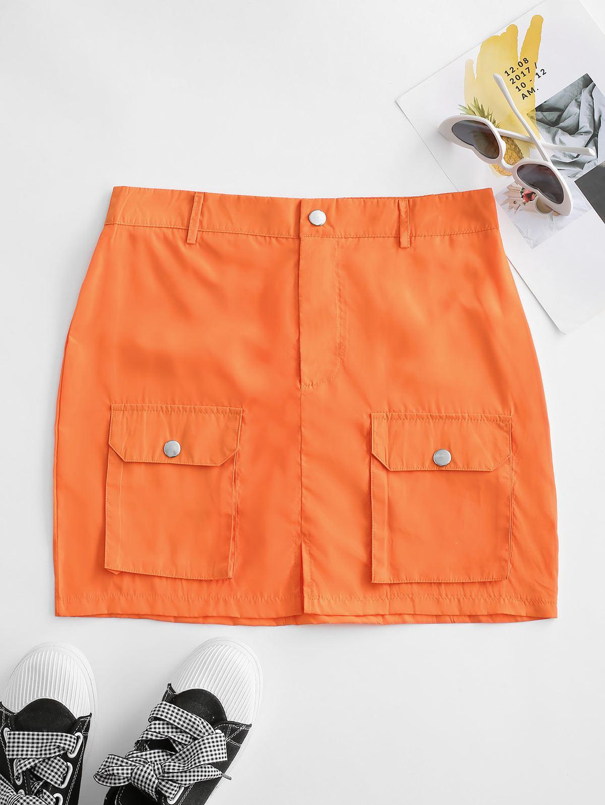 Front Slit Flap Pocket Cargo Skirt