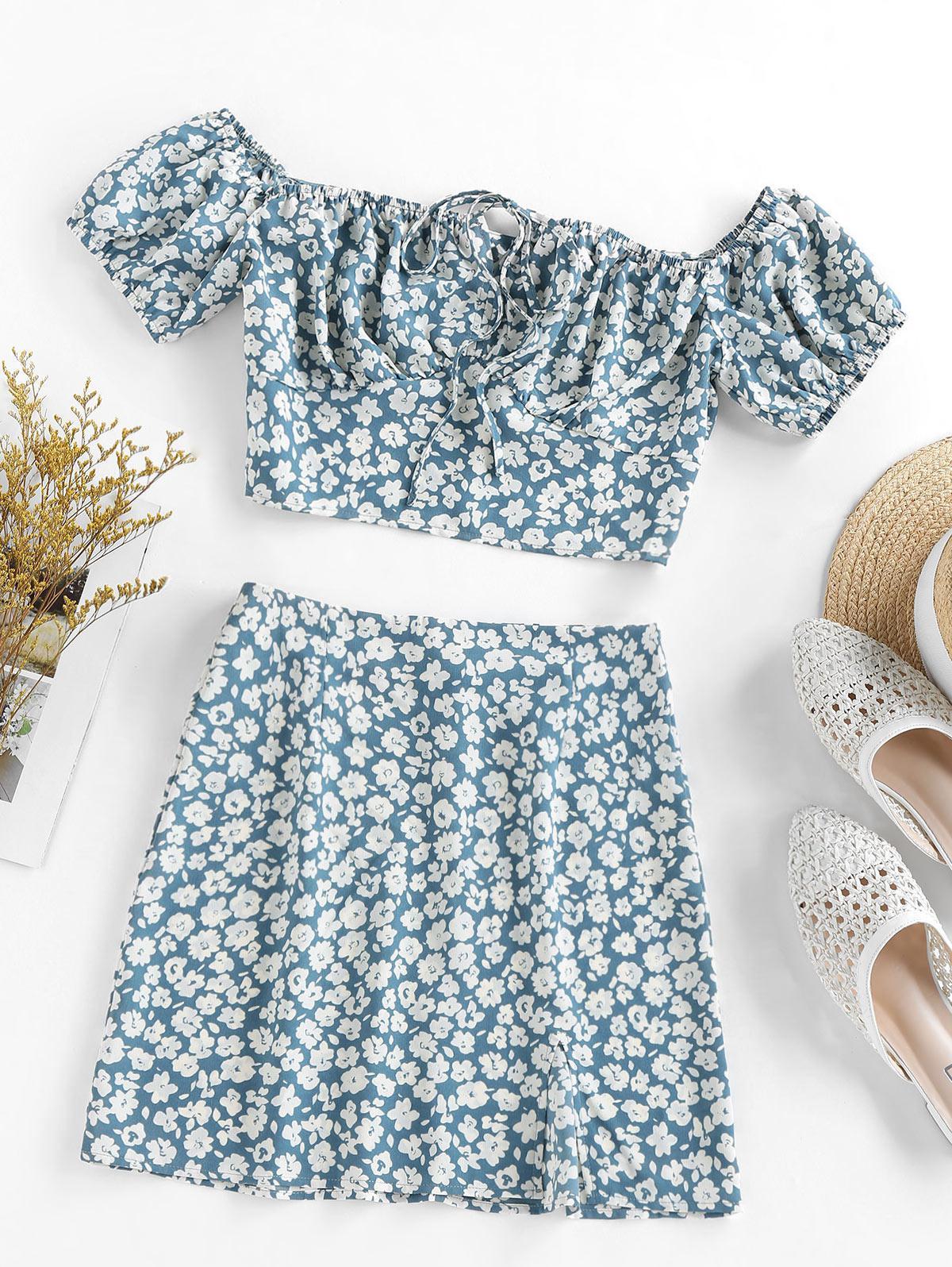 ZAFUL Flower Print Bowknot Slit Keyhole Mini Skirt Set