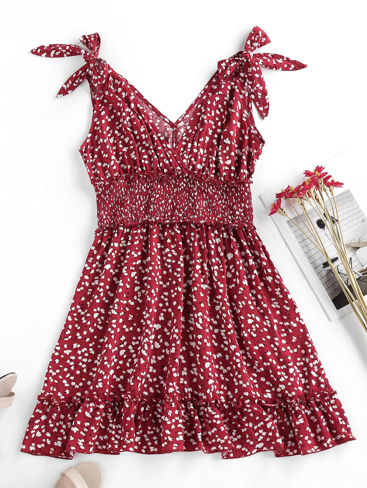ZAFUL Flower Smocked Ruffle Tie Shoulder Dress