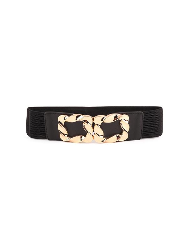 Twist Buckle Wide Elastic Band Belt