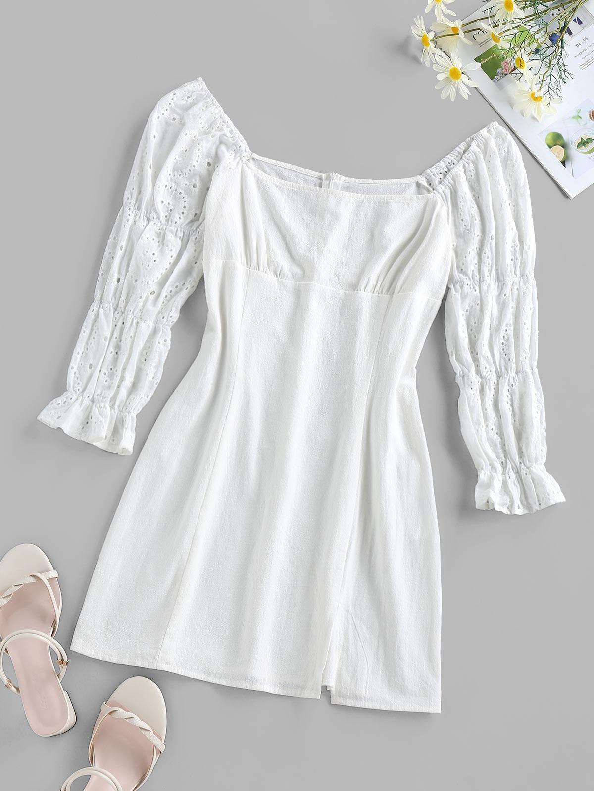 ZAFUL Eyelet Poet Sleeve Slit Mini Dress